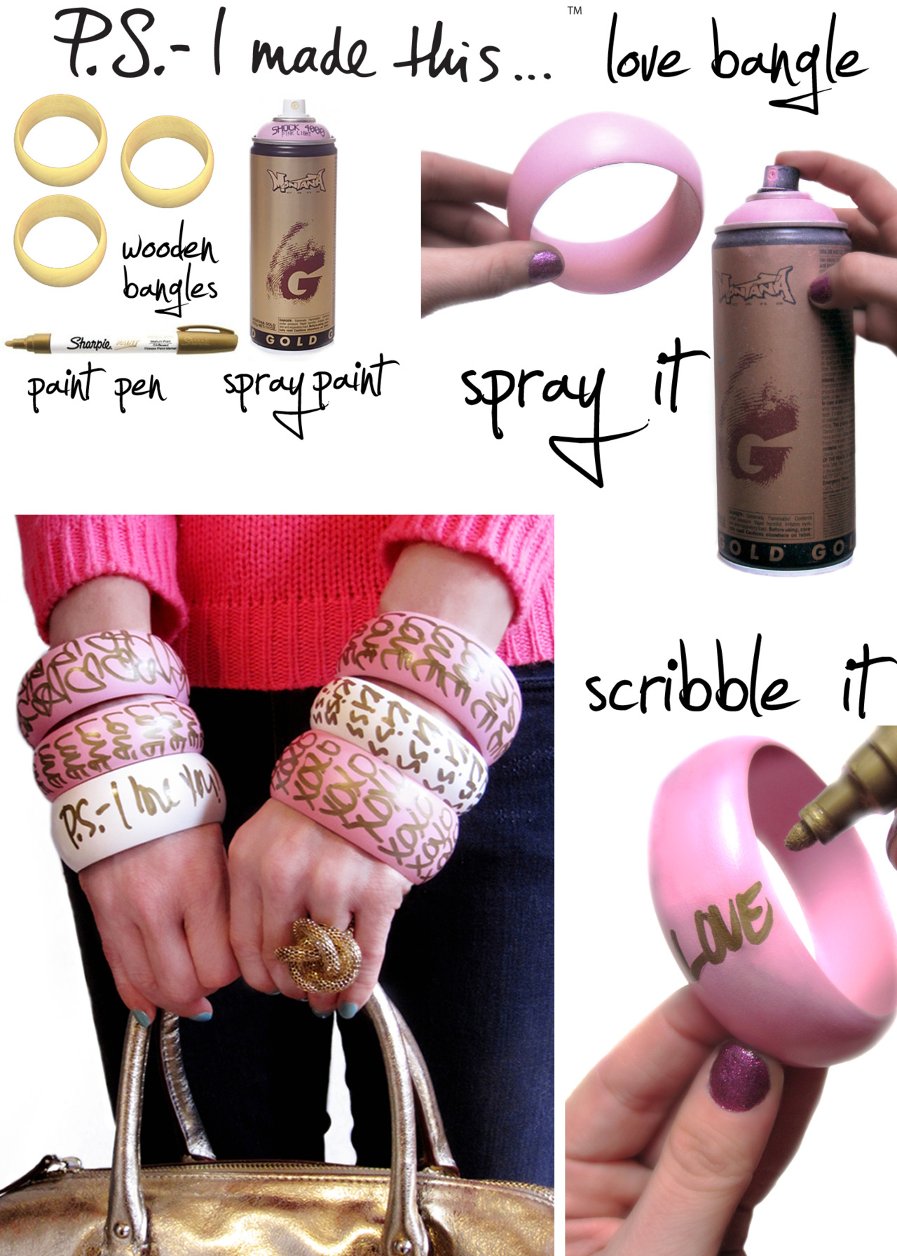 Graffiti Style Love Note Bangle DIY