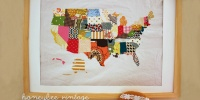 DIY Fabric Scrap Map by Honeybee Vintage