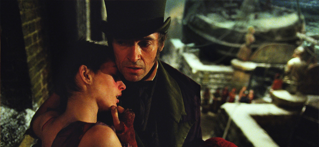Anne Hathaway and Hugh Jackman in LES MISERABLES (Image Credit: Universal Pictures)