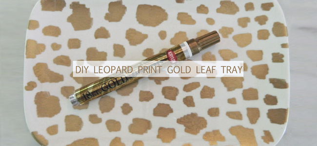 DIY leopard print gold leaf tray