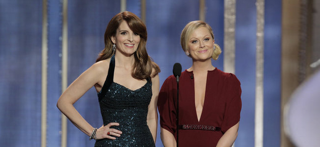 Tina Fey, Amy Poehler, hosts on stage during the 70th Annual Golden Globe Awards held at the Beverly Hilton Hotel on January 13, 2013 -- (Photo By: Paul Drinkwater/NBC)