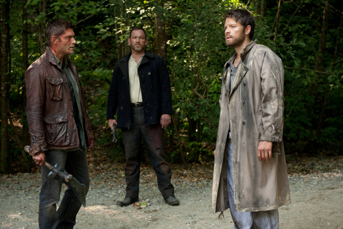Jensen Ackles as Dean, Ty Olsson as Benny, and Misha Collins as Castiel in SUPERNATURAL
