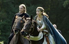 Jamie Campbell Bower and Lara Jean Chorostecki in CAMELOT (Image Credit: Starz)