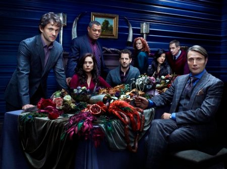 Hugh Dancy as Special Agent Will Graham, Caroline Dhavernas as Dr. Alana Bloom, Laurence Fishburne as Agent Jack Crawford, Aaron Abrams as Brian Zeller, Lara Jean Chorostecki as Freddie Lounds, Hettienne Park as Beverly Katz, Scott Thompson as Jimmy Price, and Mads Mikkelsen as Dr. Hannibal Lecter in HANNIBAL (Image Credit: Robert Trachtenberg/NBC)