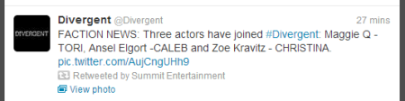 Divergent Casting Tweet (Image Credit: Summit Entertainment Twitter)