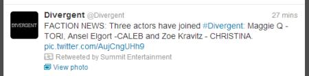 Divergent Casting Tweet (Image Credit: Summit Entertainment Twitter)