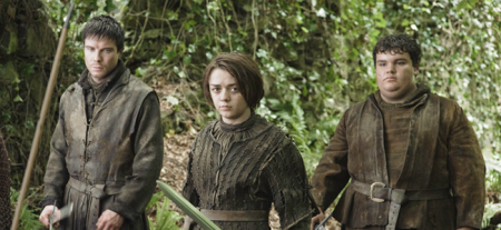 Joe Dempsie as Gendry, Maisie Williams as Arya Stark, and Ben Hawkey as Hot Pie in GAME OF THRONES