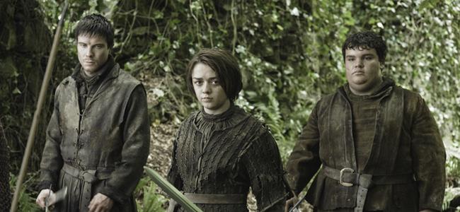 Joe Dempsie as Gendry, Maisie Williams as Arya Stark, and Ben Hawkey as Hot Pie in GAME OF THRONES
