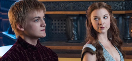 Jack Gleeson as Joffrey Baratheon and Natalie Dormer as Margaery Tyrell in GAME OF THRONES (Image Credit: HBO)