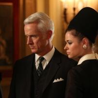 Roger Sterling (John Slattery) and Jane Sterling (Peyton List) - Mad Men (Photo Credit: Michael Yarish/AMC)