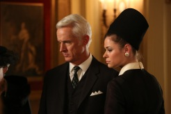 Roger Sterling (John Slattery) and Jane Sterling (Peyton List) - Mad Men (Photo Credit: Michael Yarish/AMC)