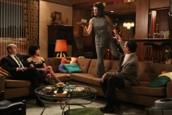 Arnold Rosen (Brian Markinson), Sylvia Rosen (Linda Cardellini), Megan Draper (Jessica Pare) and Don Draper (Jon Hamm) - Mad Men (Photo Credit: Michael Yarish/AMC)
