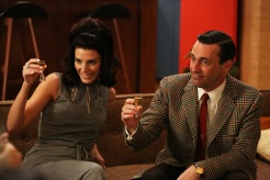 Megan Draper (Jessica Pare) and Don Draper (Jon Hamm) - Mad Men (Photo Credit: Michael Yarish/AMC)