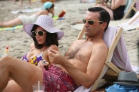 Megan Draper (Jessica Pare) and Don Draper (Jon Hamm) - Mad Men (Photo Credit: Michael Yarish/AMC)