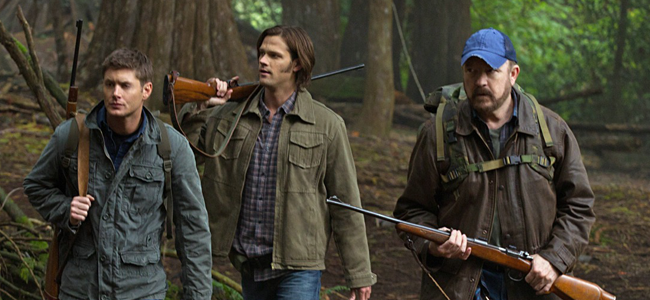 Bobby Singer as Jim Beaver, Jared Padalecki as Sam Winchester, and Jensen Ackles as Dean Winchester in SUPERNATURAL