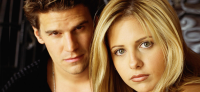David Boreanaz as Angel and Sarah Michelle Gellar as Buffy in BUFFY THE VAMPIRE SLAYER (Image Credit: Warner Bros.)