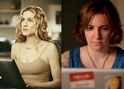 Sarah Jessica Parker as Carrie Bradshaw in SEX AND THE CITY (Image Credit: HBO) / Lena Dunham as Hannah Horvath in GIRLS (Image Credit: HBO)