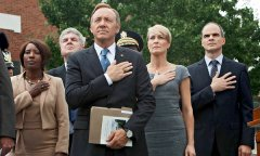 Michael Kelly, Robin Wright and Kevin Space in HOUSE OF CARDS (Image Credit: Netflix)
