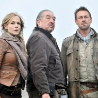 Julie Benz as Amanda Rosewater, Graham Greene as Rafe McCawley, and Grant Bowler as Jeb Nolan in DEFIANCE (Image Credit: Ben Mark Holzberg/Syfy)