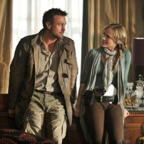 Grant Bowler as Jeb Nolan and Julie Benz as Amanda Rosewater in DEFIANCE (Image Credit: Ben Mark Holzberg/Syfy)