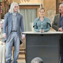 Tony Curran as Datak Tarr, Julie Benz as Amanda Rosewater, and Graham Greene as Rafe McCawley in DEFIANCE (Image Credit: Ben Mark Holzberg/Syfy)