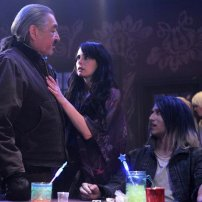 Graham Greene as Rafe McCawley, Mia Kirshner as Kenya Rosewater, and Jesse Rath as Alak Tarr in DEFIANCE (Image Credit: Ben Mark Holzberg/Syfy)