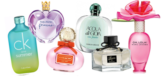 CK One Summer by Calvin Klein (Image Credit: Calvin Klein) / Princess by Vera Wang (Image Credit: Vera Wang) / Poppy by Coach (Image Credit: Coach) / Acqua di Gioia by Giorgio Armani (Image Credit: Giorgio Armani) / Flora by Gucci) / Oh, Lola! by Marc Jacobs (Image Credit: Marc Jacobs)