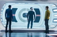 Zachary Quinto, Benedict Cumberbatch, and Chris Pine in STAR TREK INTO DARKNESS