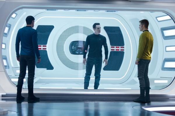 Zachary Quinto, Benedict Cumberbatch, and Chris Pine in STAR TREK INTO DARKNESS