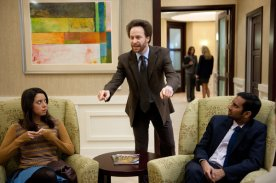 Aubrey Plaza as April Ludgate, Jon Glaser as Councilman Jamm, and Aziz Ansari as Tom Haverford in PARKS AND RECREATION (Image Credit: Colleen Hayes/NBC)