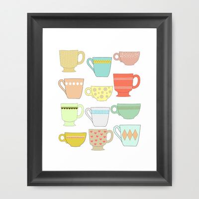 Coffee mug/ Tea cup Framed Print by Little Light Prints (Image Credit: http://society6.com/LittleLightPrints)