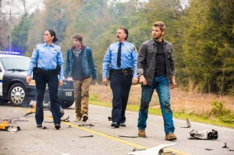 "Natalie Martinez as Deputy Linda, Colin Ford as Joe, Jeff Fahey as Sheriff Perkins and Mike Vogel as Dale ""Barbie"" Barbara in UNDER THE DOME (Image Credit: Michael Tackett / CBS)"