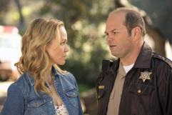 Lauren Bowles as Holly Cleary and Chris Bauer as Andy Bellefleur in TRUE BLOOD (Image Credit: John P Johnson / HBO)