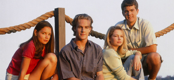 Katie Holmes as Joey and James Van Der Beek as Dawson, Michelle Williams as Jen and Joshua Jackson as Pacey in DAWSON'S CREEK (Image Credit: Sony Pictures)