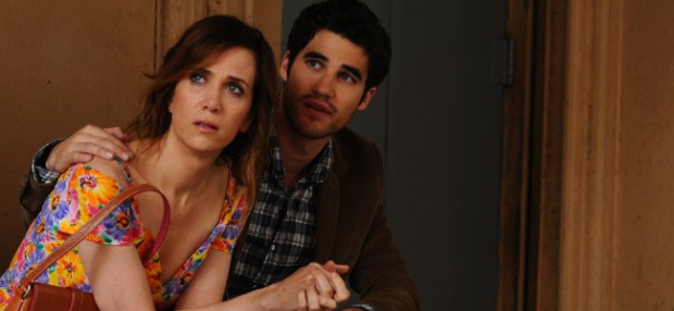 Darren Criss as Lee and Kristen Wiig as Imogen in GIRL MOST LIKELY (Image Credit: Roadside Attractions)
