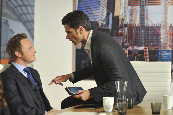 David Anders and John Stamos in NECESSARY ROUGHNESS (Image Credit: Richard DuCree/USA Network)