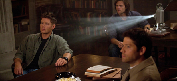Jensen Ackles as Dean Winchester, Jared Padalecki as Sam Winchester and Misha Collins as Castiel in SUPERNATURAL (Image Credit: The CW)