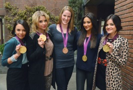 Janel Parrish and the cast of PRETTY LITTLE LIARS with Olympic Medalist Missy Franklin (Image Credit: ABC Family / Eric McCandless)