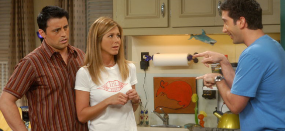 Matt LeBlanc as Joey, Jennifer Aniston as Rachel and David Schwimmer as Ross in FRIENDS (Image Credit: Warner Bros.)