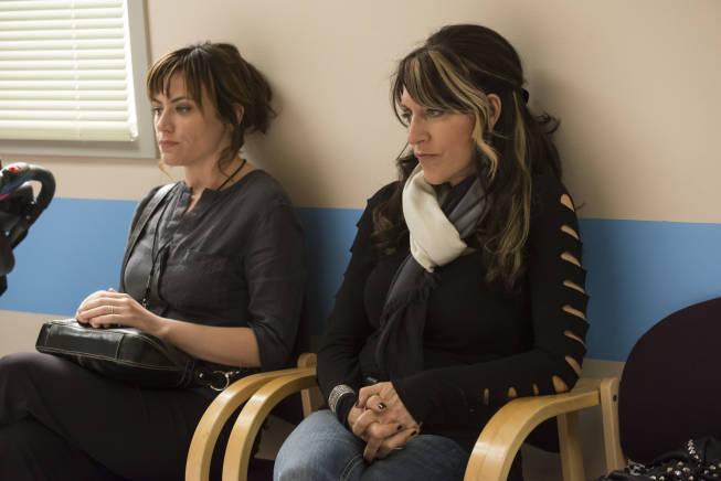 Maggie Siff as Tara Knowles and Katey Sagal as Gemma Teller in SONS OF ANARCHY (Image Credit: Prashant Gupta/FX)