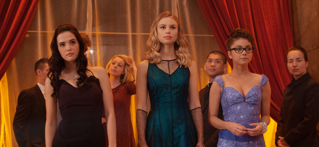 Zoey Deutch as Rose Hathaway, Lucy Fry as Lissa Dragomir and Sarah Hyland as Natalie Dashkov in VAMPIRE ACADEMY: BLOOD SISTERS (Image Credit: The Weinstein Company)