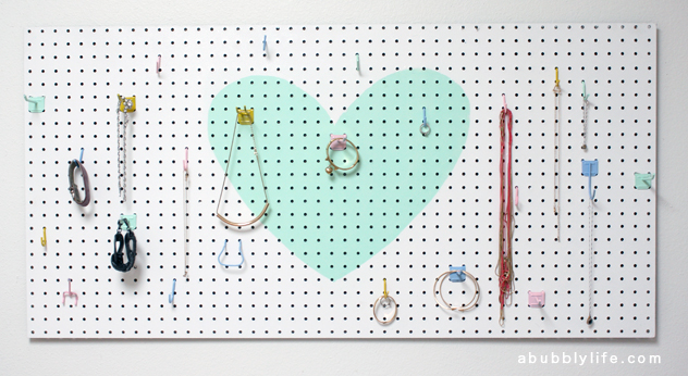 DIY Heart Pegboard Jewelry Organizer (Image Credit: A Bubbly Life)