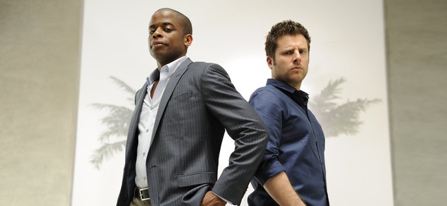 Dule Hill as Gus Guster and James Roday as Shawn Spencer in PSYCH (Image Credit: Alan Zenuk/USA Network)