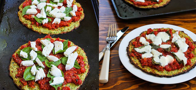 Zucchini Crust Vegetarian Pizza Margherita (Image Credit: Kalyn's Kitchen)