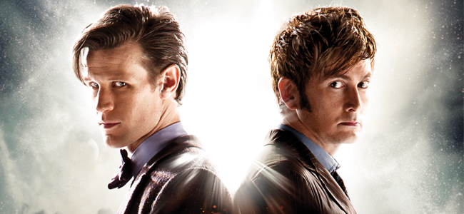 Matt Smith and David Tennant for DOCTOR WHO (Image Credit: Adrian Rogers / BBC)