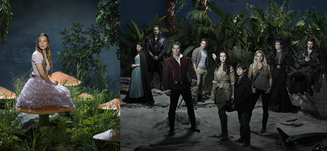 Sophie Lowe in ONCE UPON A TIME IN WONDERLAND an the cast of ONCE UPON A TIME (Image Credit: Bob D'Amico / ABC)