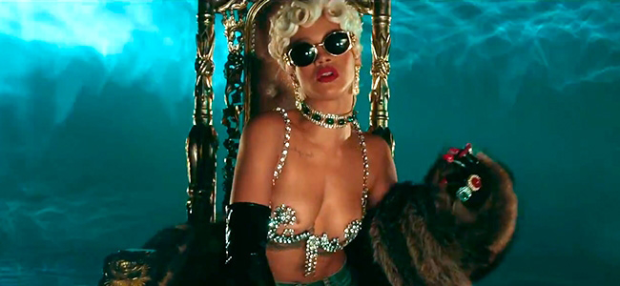 "Rihanna in the music video for ""Pour it Up"" (Image Credit: The Island Def Jam Music Group)"