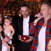 NEW YORK, NY - NOVEMBER 03: (L-R) Jason Schwartzman, Ryan Lewis and Macklemore speak onstage at the YouTube Music Awards 2013 on November 3, 2013 in New York City. (Photo by FilmMagic/FilmMagic for YouTube)