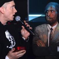 NEW YORK, NY - NOVEMBER 03: Eminem (L) and Jason Schwartzman speak onstage at the YouTube Music Awards 2013 on November 3, 2013 in New York City. (Photo by Jeff Kravitz/FilmMagic for YouTube)