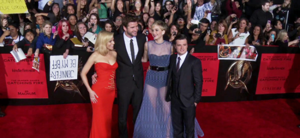 Elizabeth Banks, Liam Hemsworth, Jennifer Lawrence and Josh Hutcherson at the Los Angeles Premiere of THE HUNGER GAMES: CATCHING FIRE (Image Credit: Lionsgate)